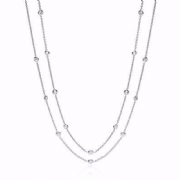 "38"" Rhodium plated Sterling silver Cubic Zirconia J-Jaz Necklace"